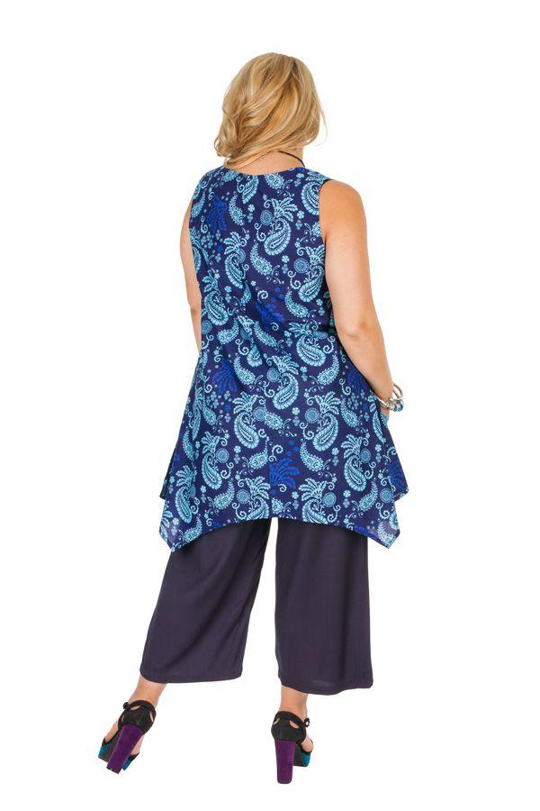 Tunique sans manches grande taille bleue imprimée Cassandre 309817