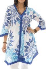Tunique size + asymétrique et élégante bleue et blanche Zoé 295574