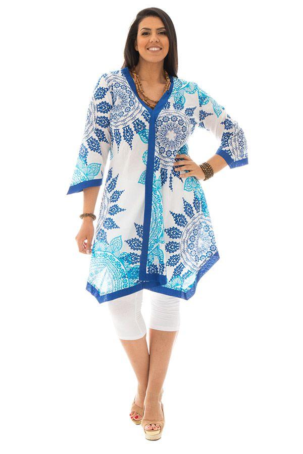 Tunique size + asymétrique et élégante bleue et blanche Zoé 295575