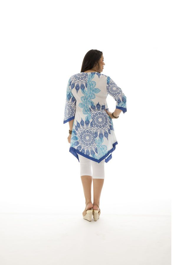 Tunique size + asymétrique et élégante bleue et blanche Zoé 295576