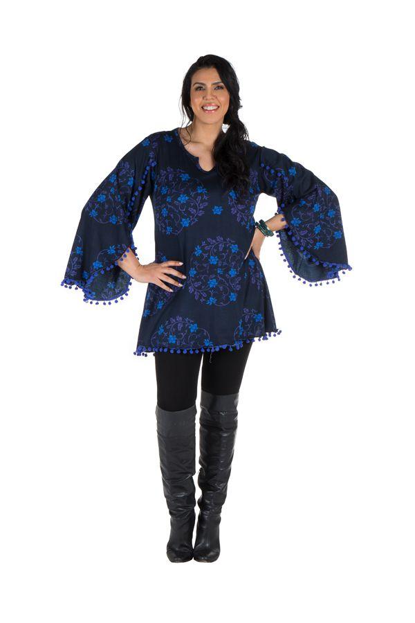 Tunique size + Bleue à manches évasées et motifs fleuris Isak 301991