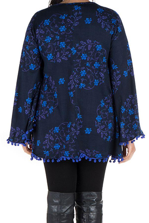 Tunique size + Bleue à manches évasées et motifs fleuris Isak 301999
