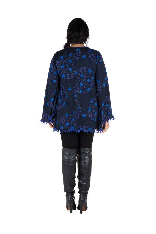 Tunique size + Bleue à manches évasées et motifs fleuris Isak 302006