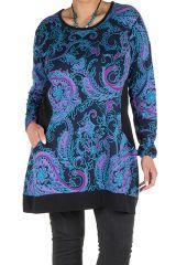 Tunique size + Bleue avec imprimés style arabesque et poches Gaby 301832