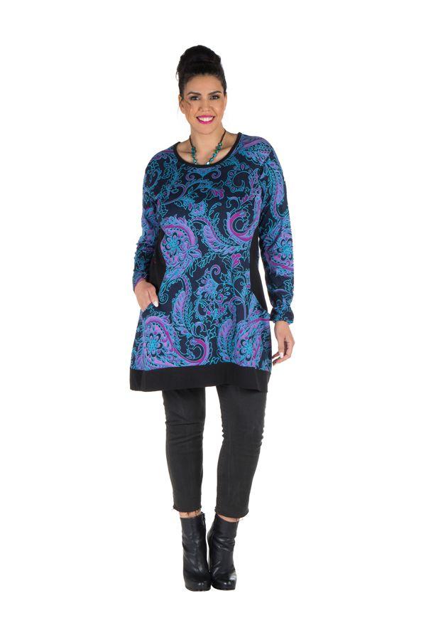 Tunique size + Bleue avec imprimés style arabesque et poches Gaby 301837