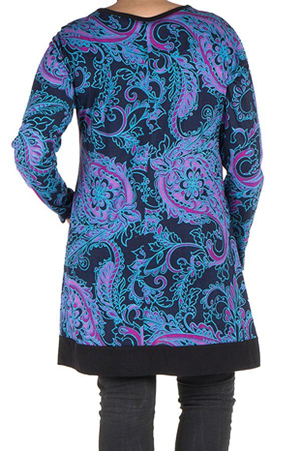 Tunique size + Bleue avec imprimés style arabesque et poches Gaby 301838