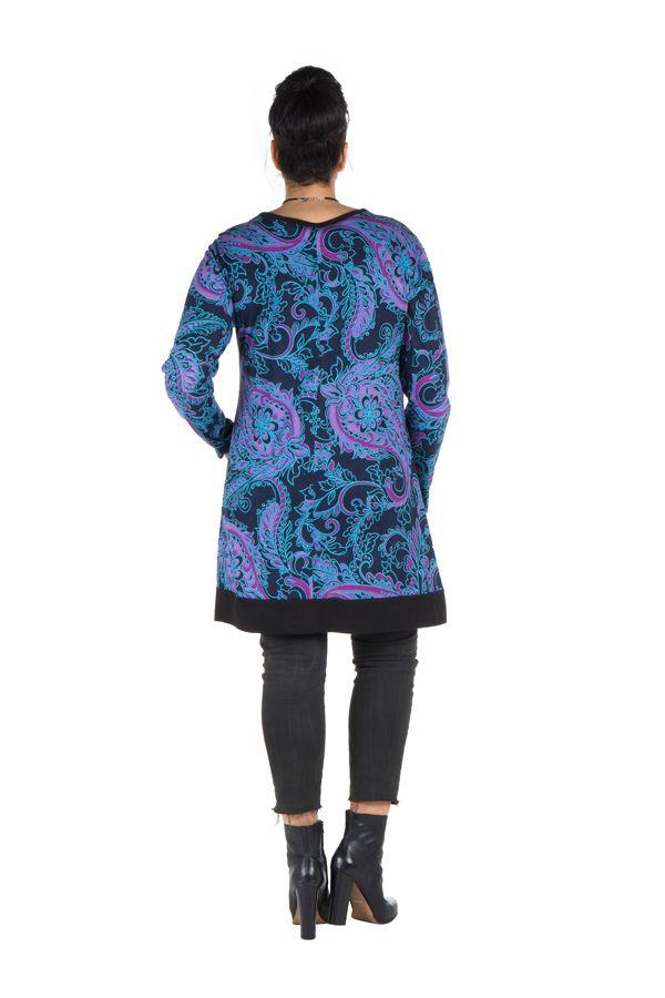 Tunique size + Bleue avec imprimés style arabesque et poches Gaby