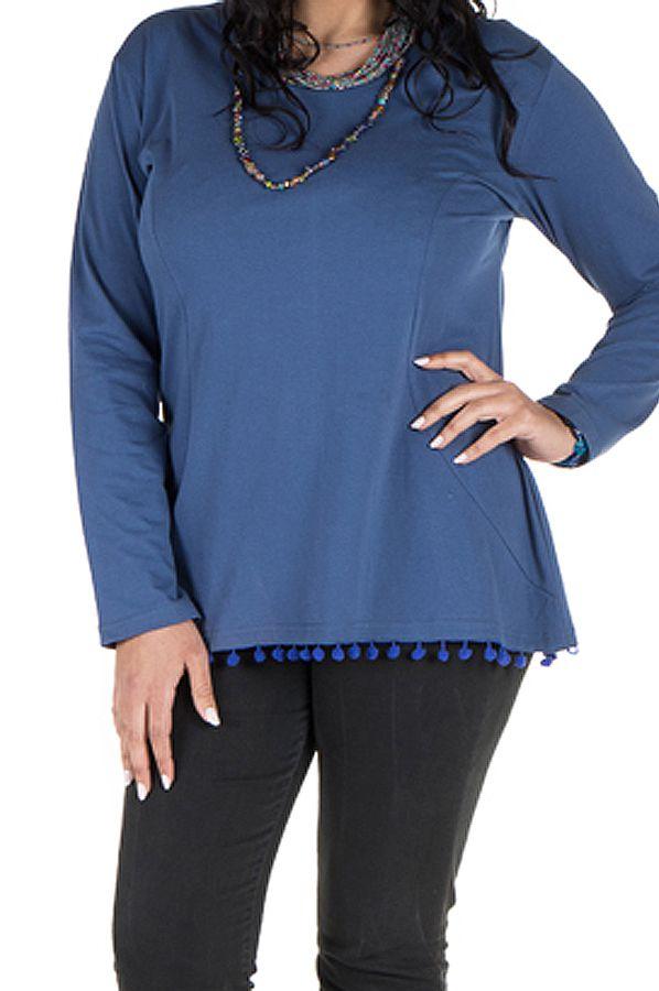 Tunique size + Bleue avec pompons et col rond Eder 302127