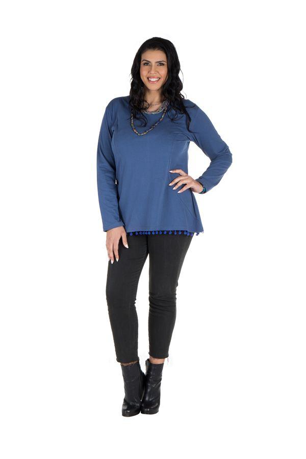 Tunique size + Bleue avec pompons et col rond Eder 302128