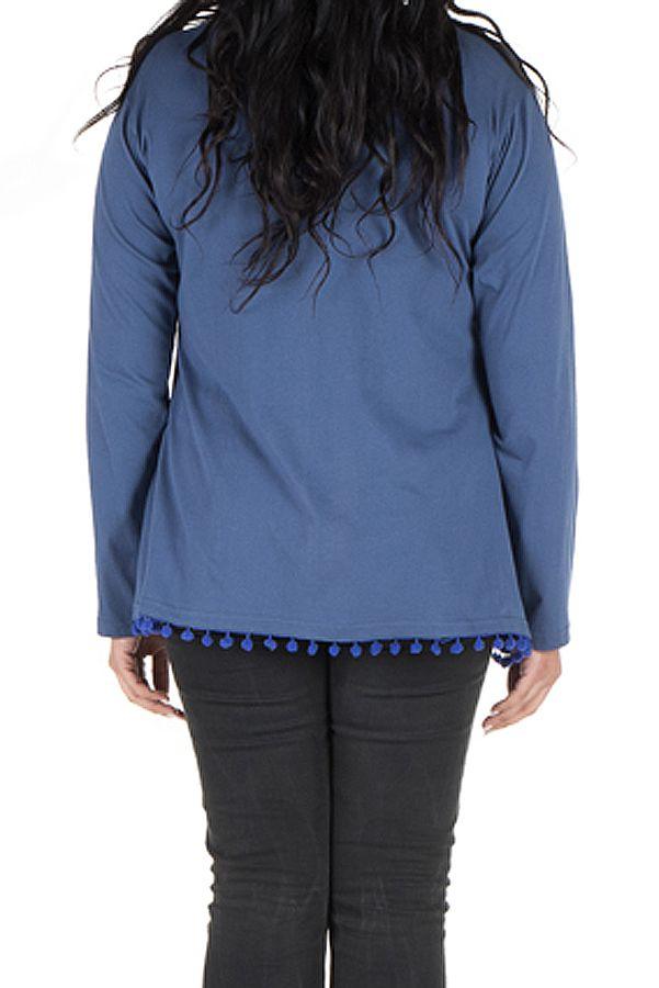 Tunique size + Bleue avec pompons et col rond Eder 302129