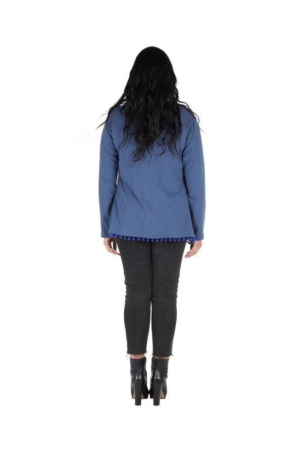 Tunique size + Bleue avec pompons et col rond Eder