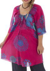 Tunique size + féminine et colorée coupe évasée fuchsia Malia 295716