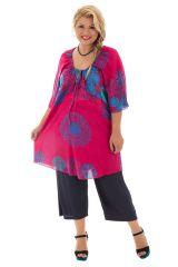 Tunique size + féminine et colorée coupe évasée fuchsia Malia 295717