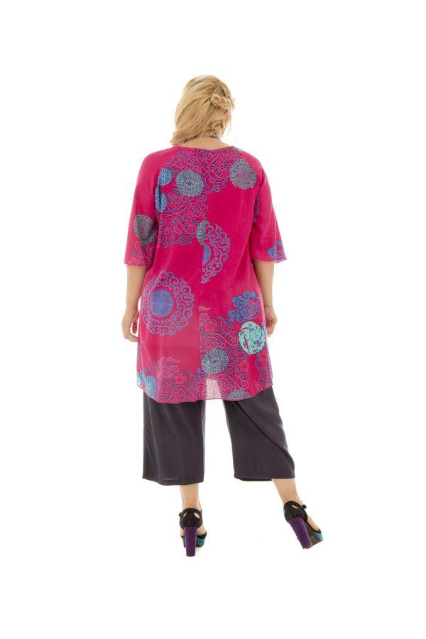 Tunique size + féminine et colorée coupe évasée fuchsia Malia 295718