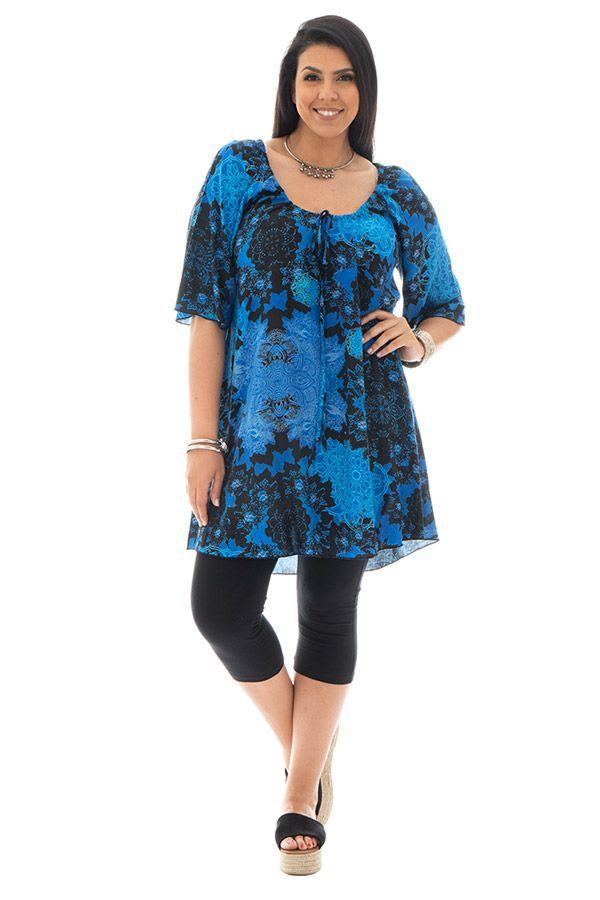 Tunique size + originale et imprimé avec col rond bleue Malia 299465