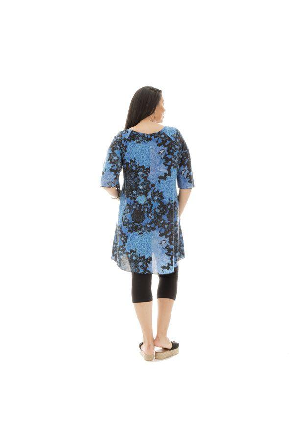 Tunique size + originale et imprimé avec col rond bleue Malia 299466