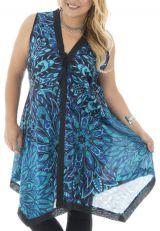 Tunique size plus fantaisie avec imprimé floral bleue Valou 295272