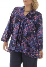Tunique size plus imprimé ethnique fantaisie violette Thaly 295246