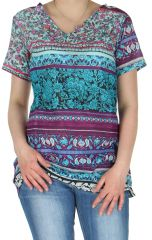 Tunique Turquoise à manches courtes Imprimée et Colorée Philka 282800
