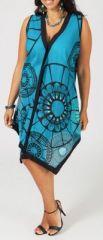 Tunique turquoise col en V grande taille Elyana