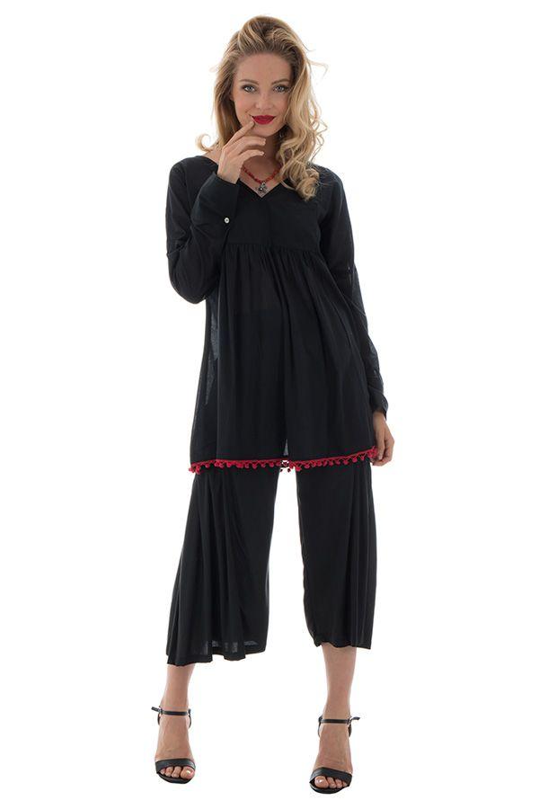 tunique unie noire à manches longues ou 3/4 avec pompons décoratifs Smarty 290304