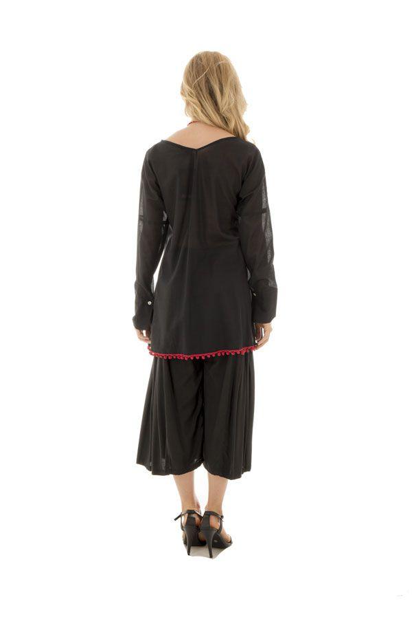 tunique unie noire à manches longues ou 3/4 avec pompons décoratifs Smarty 290305