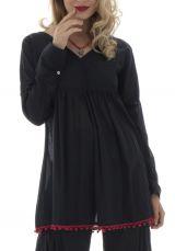tunique unie noire à manches longues ou 3/4 avec pompons décoratifs Smarty 291980