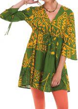 Tunique Verte à manches 3/4 Originale et Volantée Kenza 282003