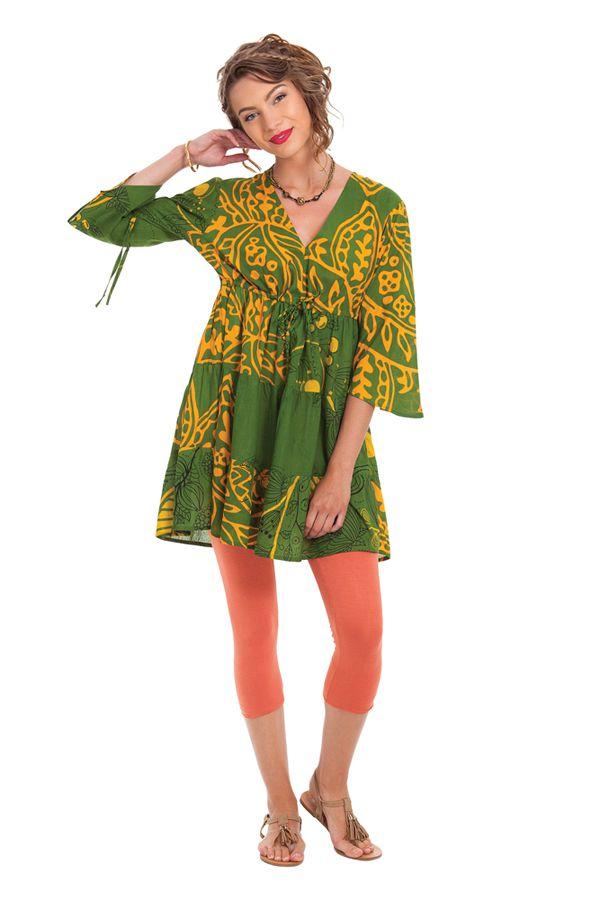 Tunique Verte à manches 3/4 Originale et Volantée Kenza 282004