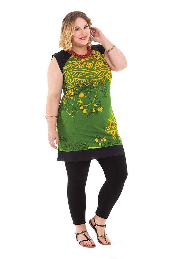 Tunique Verte Grande taille sans manches et Tendance Katrina 284555