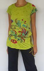 Tunique verte mode ethnique chic imprimée barbade 302481