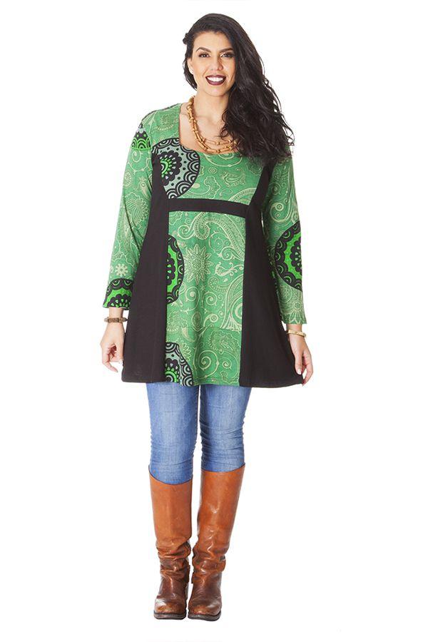 Tunique Verte pour femme ronde Ethnique et Originale Laure 286190