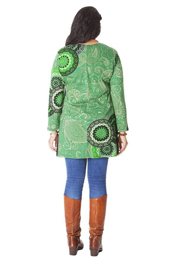 Tunique Verte pour femme ronde Ethnique et Originale Laure 286192