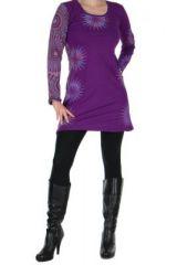 Tunique violette avec broderie Cécilia 266571