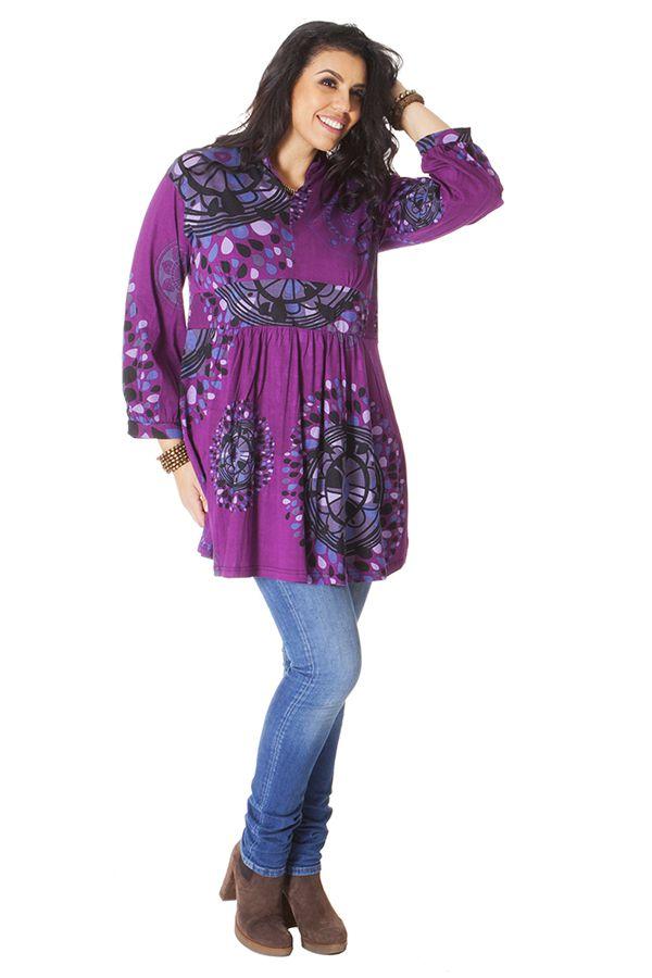 Tunique Violette Grande taille Imprimée à col Mao Fabienne 286585