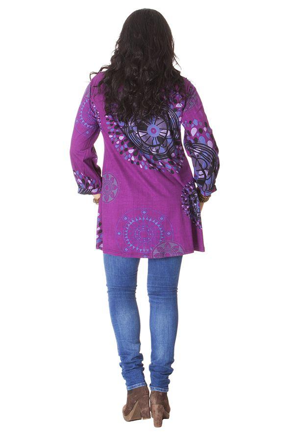 Tunique Violette Grande taille Imprimée à col Mao Fabienne 286586