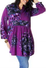 Tunique Violette Grande taille Imprimée à col Mao Fabienne 286719