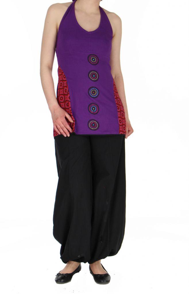 Tunique violette népalaise à dos nu Nadya 269377