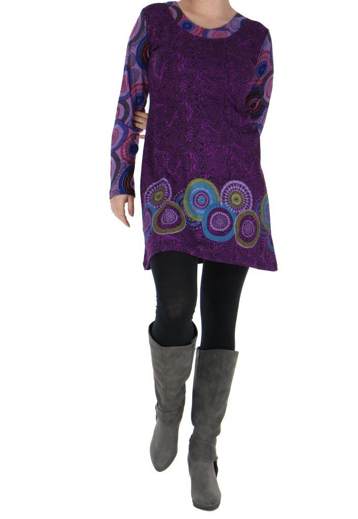 Tunique violette originale imprimée Julia 266612