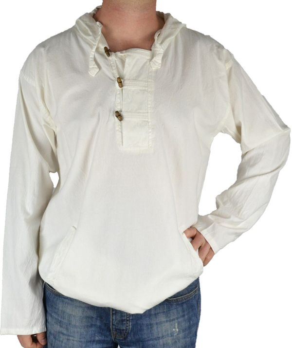 Vareuse à capuche pour homme en coton épais du Népal Daye Blanc 305048