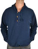 Vareuse à capuche pour homme en coton épais du Népal Daye bleu marine