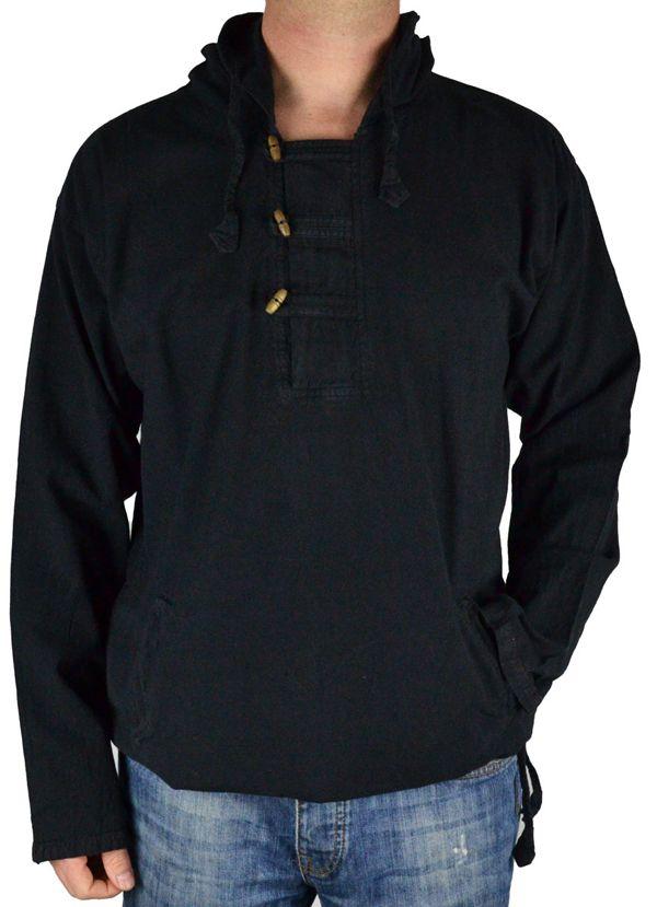 Vareuse à capuche pour homme en coton épais du Népal Daye noir 305053