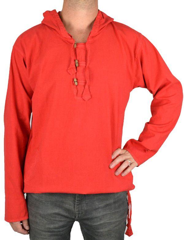 Vareuse à capuche pour homme en coton épais du Népal Daye rouge