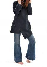 Veste à capuche lutin original et chaude noir Lutinia 303206