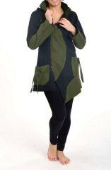 Veste chaude à capuche en pointe original noir et kaki Lutinia 303194