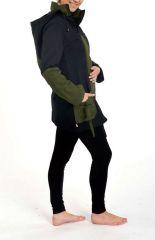 Veste chaude à capuche en pointe original noir et kaki Lutinia 303195