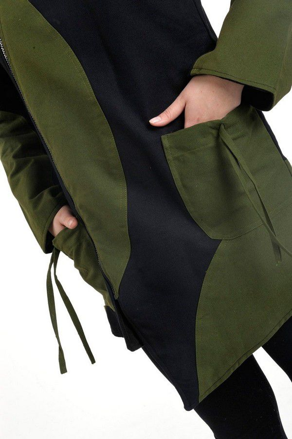 Veste chaude à capuche en pointe original noir et kaki Lutinia 303196