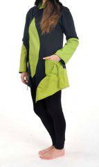 Veste chaude original à capuche lutin anis et noir Lutinia 303188