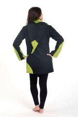 Veste chaude original à capuche lutin anis et noir Lutinia 303189