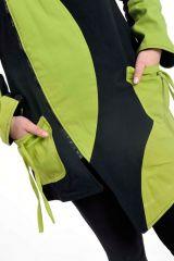 Veste chaude original à capuche lutin anis et noir Lutinia 303190